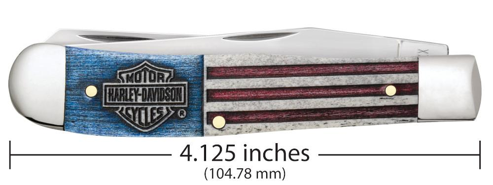 Harley-Davidson® Red, White & Blue Bone Trapper closed showing the front of the knife