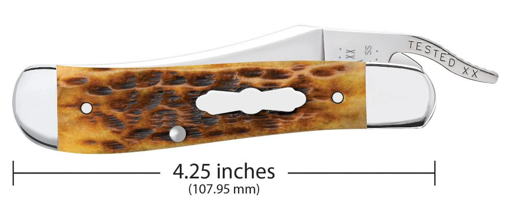 Amber Bone Peach Seed Jig RussLock® closed showing the front of the knife