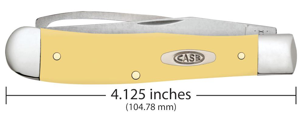 Front view of the Yellow Synthetic SS Equestrian's Knife closed showing the handle length