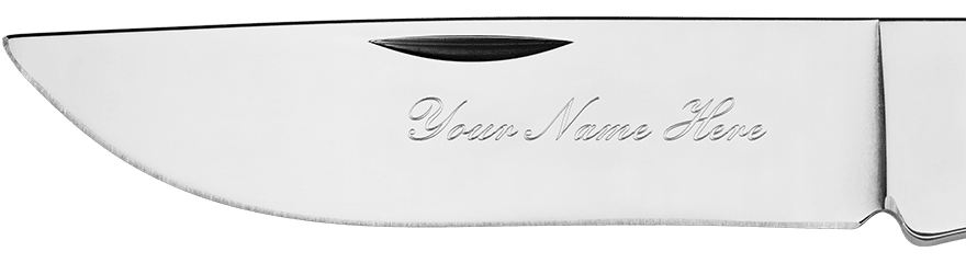 Example of custom engraving on a blade in Embassy font
