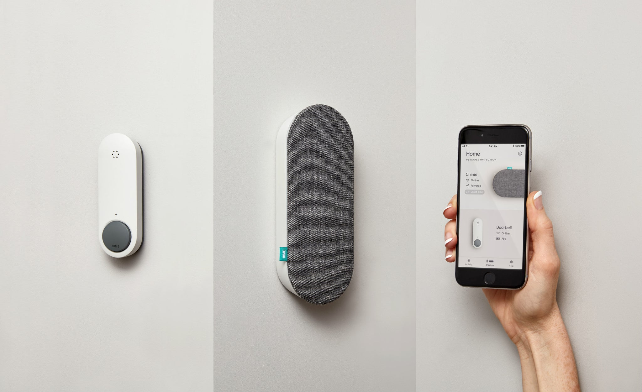 Ome Smart Doorbell, Chime and the Ome Smart Doorbell App on a Smartphone