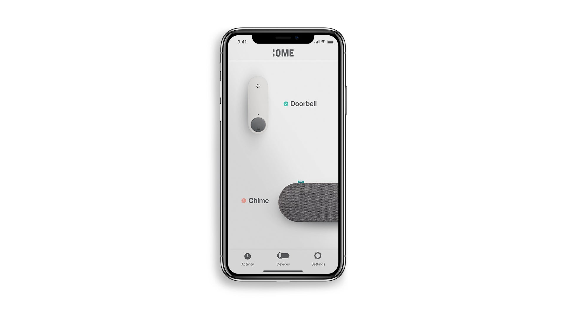 Ome Smart Doorbell App Home Page - View of Devices