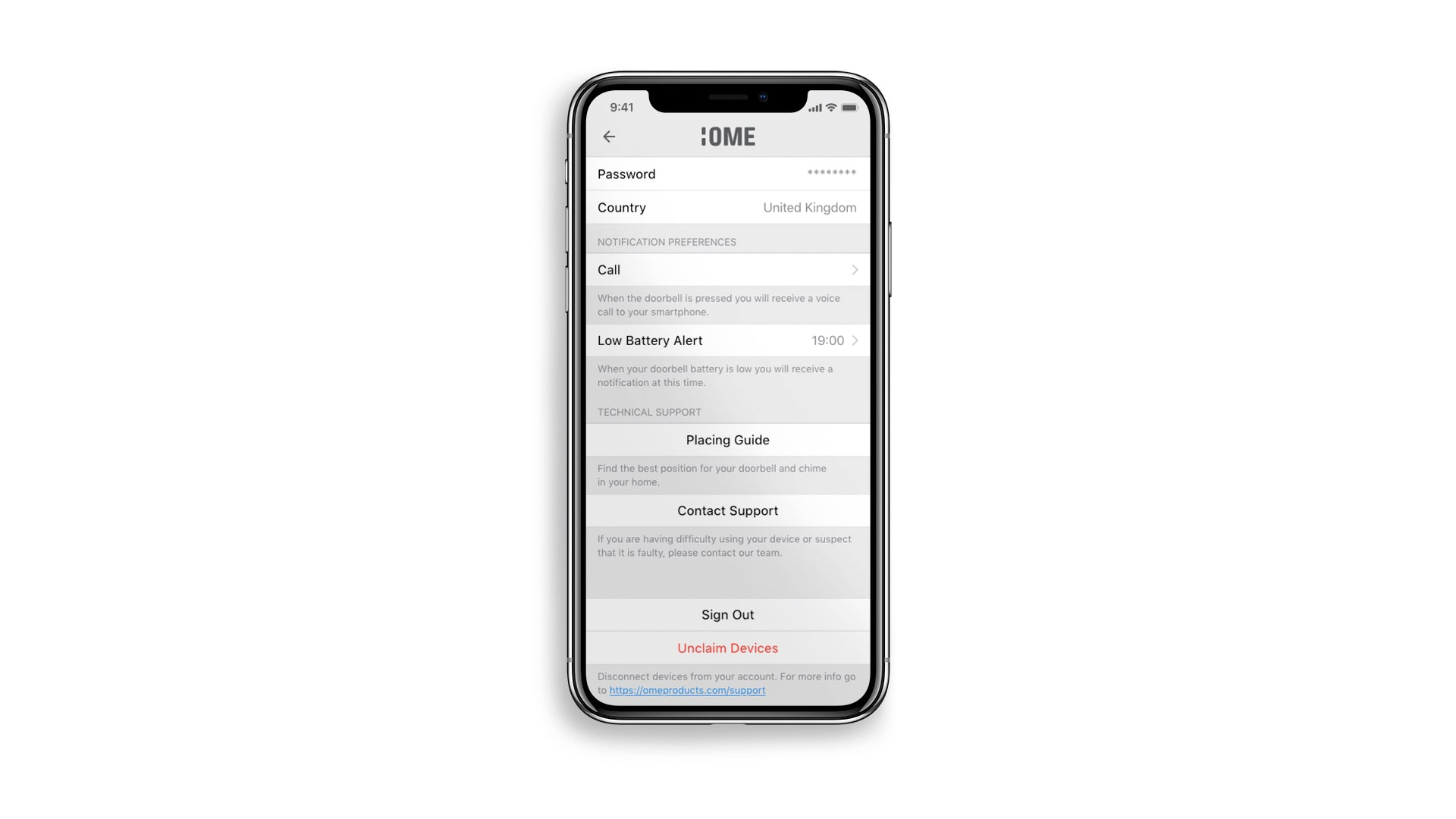 Ome Smart Doorbell App Settings