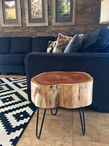 Ome Smart Doorbell loves wooden tree stump table with hairpin legs