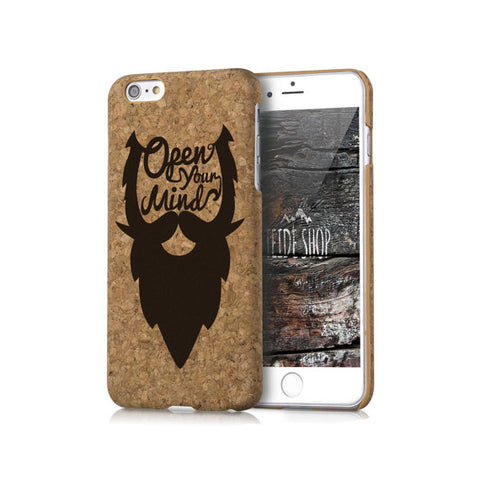 Wood Cork iPhone 8 Case Beard Cork iPhone 8 Plus Case Wood iPhone 7 Case Natural Cork iPhone 6 Case iPhone SE Case Hipster Cork iPhone Cover