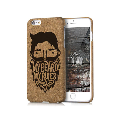 Cork iPhone 8 Plus Case My Beard Cork iPhone 8 Case Wood iPhone 7 Case Natural Cork iPhone 6 Case iPhone SE Case Hipster Cork iPhone Cover