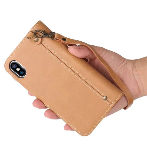 Waxy Leather iPhone X Wallet Case