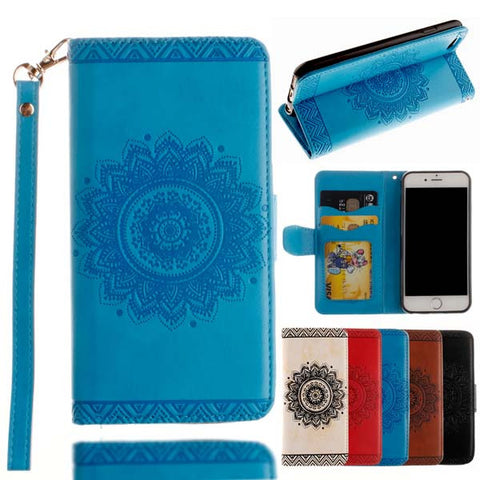 Retro Flip Leather Wallet Style Phone Cases For iPhone 7 6 6S Plus 5 5S SE Cover Luxury Mandala Henna Floral Flower Pattern Capa