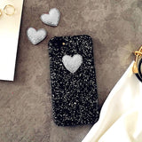 3D DIY Love Heart Case For iphone 7 6 6S Plus SE 5 5S Funda Fashion Bling Glitter Sparkle Powder Phone Cases Hard PC Back Cover