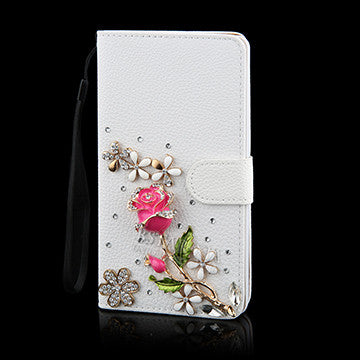 DIY Crystal Rhinestone Flower Butterfly Wallet Bling Diamond Crown Leather Phone Case for Samsung galaxy S 3 4 5 6 Note 3 4