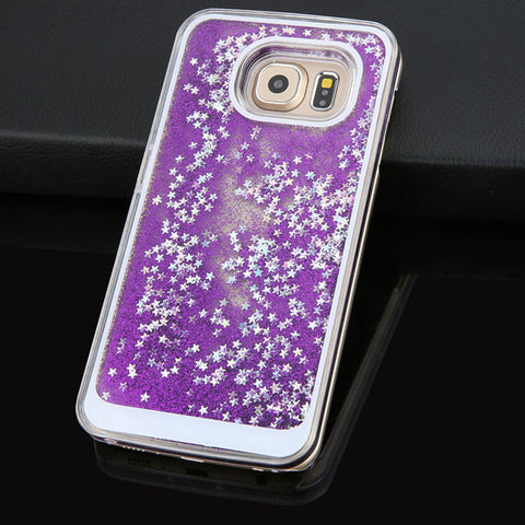Dynamic Liquid Glitter Sand Quicksand Star Case For Samsung Galaxy S6 S7 edge Crystal Clear phone Back Cover For S7 Shell Cases