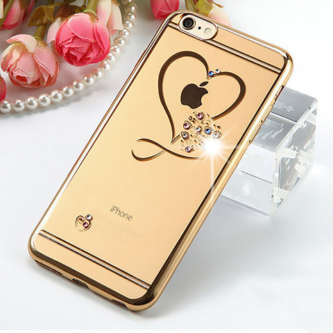 Fahion Clear Phone Cases For iphone 6 6s Plus Case Ultra Thin Soft TPU Crystal Heart Love Plating Glitter Diamond Cover Shell