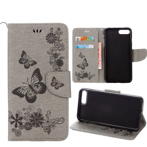 Fashion Butterfly Flower Stand Wallet Cover For iphone 7 7 Plus Funda Luxury Embossed Floral Pattern Leather Book Flip Case Capa