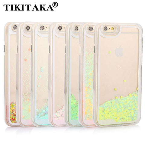 Fashion Dynamic Liquid Glitter Quicksand love Heart Phone Cases For iphone 5 5s SE 6 6s Plus 6plus Candy Color Clear Hard Cover