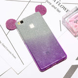 Glitter Mouse Ears Soft TPU Case For Huawei Ascend P8 P9 Cover 2 in 1 Clear Bling Powder Gradient Phone Cases Bags Lanyard Coque