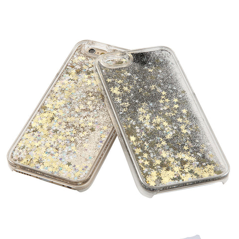Hot! Bling Colorful Dynamic Liquid Glitter Sand Quicksand Star Hard Back Cover Clear Case For Iphone 5 5s SE 6 6s 6 Plus 6s Plus