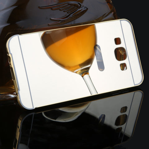 Luxury 2 in 1 Mirror Case For Samsung Galaxy A7 A700 A8 A800 2015 Case Ultra thin Mirror Back Cover Funda + Metal Frame Bumper