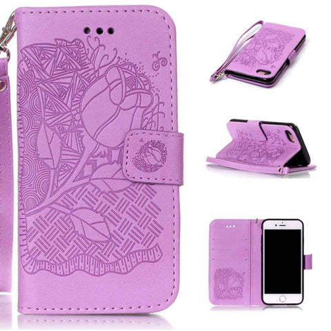 Luxury Leather Flip For iPhone 7 7 Plus Case Fashion 3D Embossed Flower Floral Pattern Phone Cases Stand Wallet Cover Shell Capa