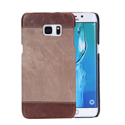 Luxury PU Leather + Retro Jean Denim Cowboy Canvas Pattern Phone Cases For Samsung Galaxy S6 S7 edge Plus Funda Hard PC Cover