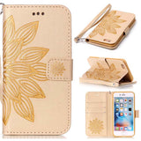 Luxury Wallet Phone Cases For Apple iPhone 7 6 6s Plus SE 5 5s Fundas Fashion 3D Embossed Half Flower Floral Leather Flip cover