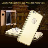 New 360 Full Body Protection Phone Cases For iPhone 5 5s SE 6 6s Plus Luxury Hard Plating PC Mirror Case Armor + Glass Protector