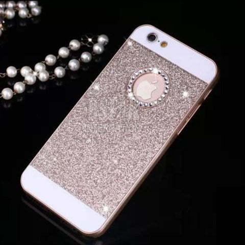 New arrival show logo glitter powder bling Hard Plastic back cover Personality fashion Sparkle Phone case for iphone 5 5s SE