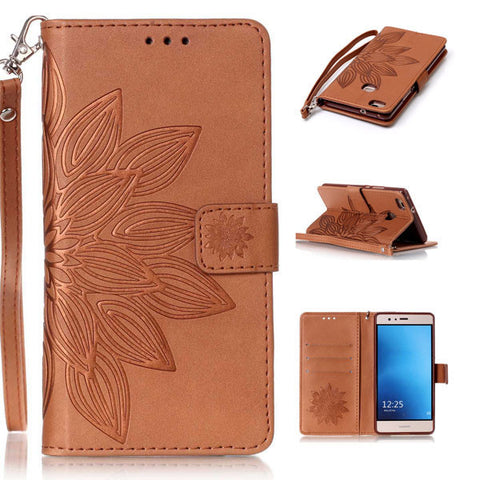 Phone Cases For Huawei P8 P9 Lite G9 Case Fashion 3D Embossed Half Flower Floral Pattern Leather Flip Stand Wallet Cover Shell
