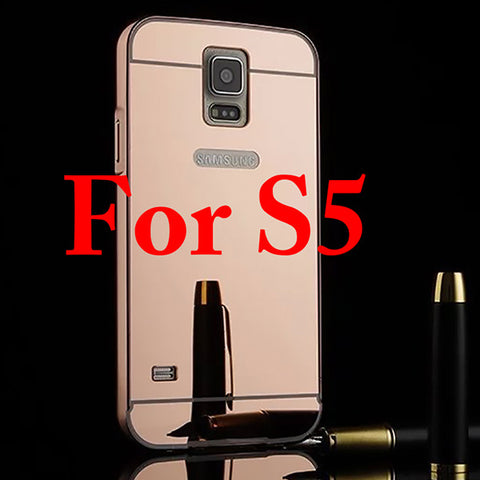S3 S5 Mirror Case Luxury Plating Metal Bumper Frame + Ultra thin Acrylic Mirror Back Cover For Samsung Galaxy S3 S5 Phone Cases