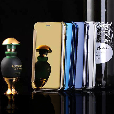 S6/Edge/Plus Leather Hard Plastic Flip Plating Mirror Case For Samsung Galaxy S5 S6 / Edge / Edge Plus S7/ Edge Slim Phone Cover