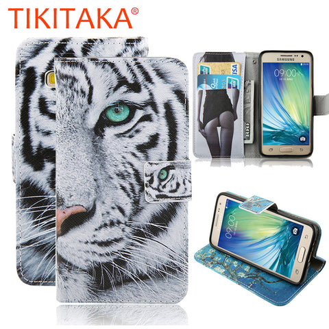 Wallet Case For Samsung Galaxy A3 A5 A7 A8 2015 Cover Fashion Cartoon Tiger Owl Pattern Leather Flip Phone Cases Stand Holder