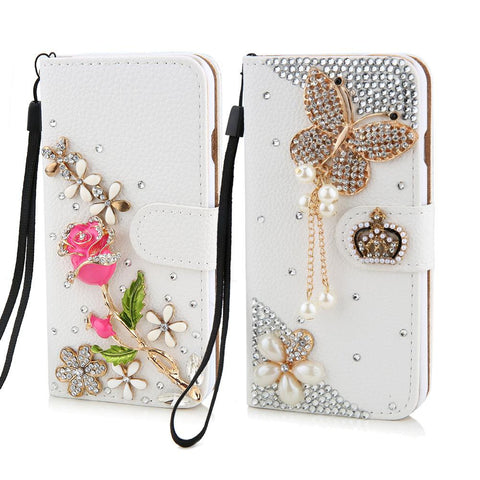6 6S Cases Luxury Rhinestone Crystal Rose flower Wallet Card Bling Diamond Back Cover Phone Case for iphone 5 5s SE 6 6S / Plus