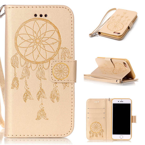 Multi-Function Leather Wallet Flip For iPhone 7 6 6s Plus SE 5 5s Case Retro 3D Embossed Dreamcatcher Pattern Phone Cases Cover
