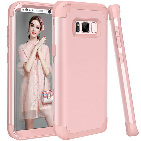 Shockproof Phone Cases For Samsung Galaxy S8 S8 Plus Case Durable PC + TPU 3 Layers Hybrid Anti-Knock Full Body Protective Cover