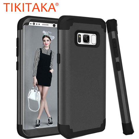 3 in 1 Shockproof Armor For iPhone 7 6 6s Plus Case 360 Full Body Protective Phone Cases For Samsung Galaxy S8 Plus Screen Film