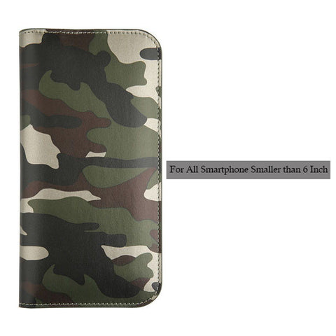 Cool Camouflage Leather Flip For Iphone 7 6 6s Plus SE 5 5s Universal Stand Wallet Case for all Smartphone Smaller than 6 Inch