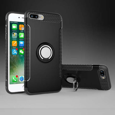 Luxury Ring Stand PC + TPU Shockproof Case For iPhone 8 7 6 6s Plus Fitted Cases Car Holder Metal Magnetic Suction Bracket Cover