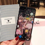 Bling Colorful Stars Dynamic Liquid quicksand Phone Cases For iphone 7 6 6s Plus Cover Cute Flamingo Milk Wishing bottle Case