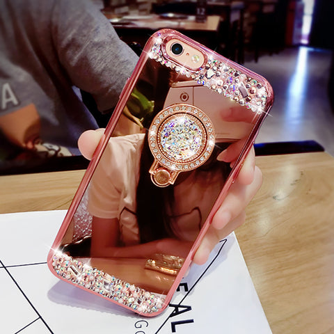 Luxury Bling Diamond Plating Soft Mirror Case for iphone 7 6 6s Plus 5 5s SE Cover Fashion DIY Crystal Ring Stand Phone Cases