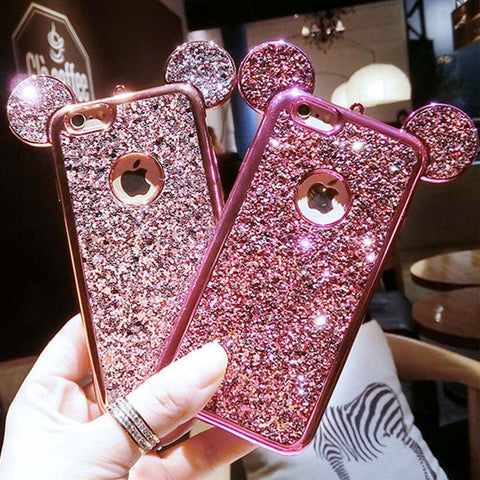 For iPhone 7 6 6s Plus Case 3D Cartoon Glitter Powder Sequins Mouse Ear Phone Cases For Samsung Galaxy S8 S7 S6 edge Plus Cover