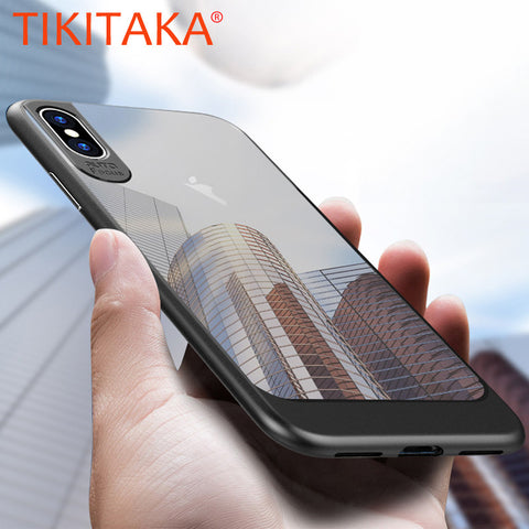 Ultra thin Transparent Back Cover for iphone X Case Luxury Slim TPU & PC Shockproof Armor Phone Cases for iphone 10 Fitted Cases