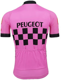 Peugeot pink cycling jersey short sleeve