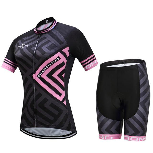Women pink cycling jersey set