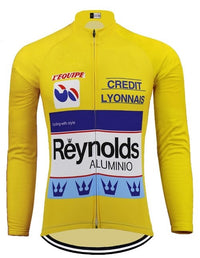 Retro yellow cycling jersey Tour de France 1988 long sleeve
