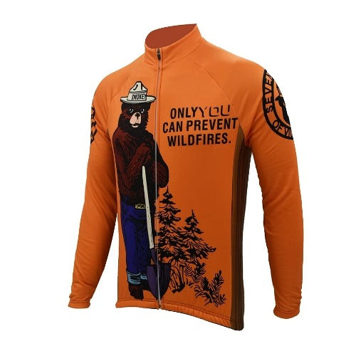 Smokey bear retro cycling jersey long sleeve
