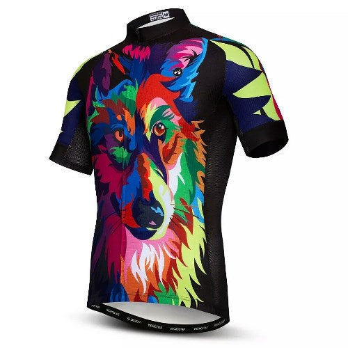 Coloured wolf cycling jersey