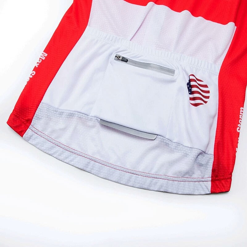 California Republic red cycling jersey short sleeve