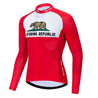 California Republic Red cycling jersey long sleeves