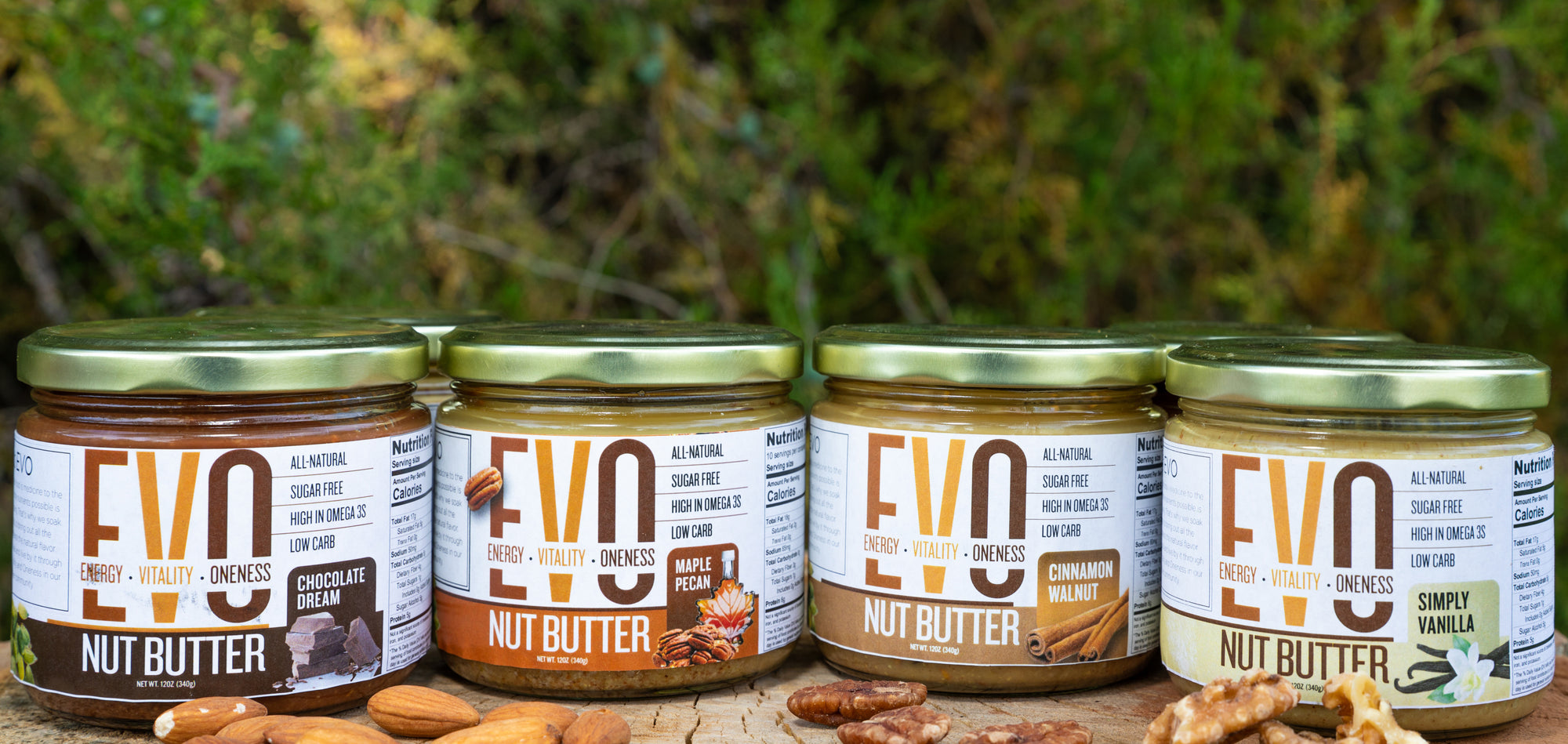 Evo Nut Butter Simply Vanilla Cinnamon Walnut Chocolate Dream Maple Pecan