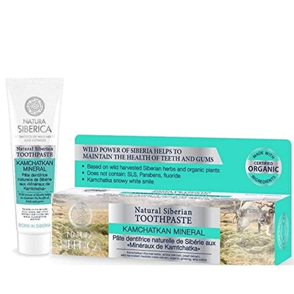 NATURA SIBERICA - Toothpaste Kamchatkan Mineral - Made with Wild Harvested Siberian Herbs - Without Floride - Siberian Wellness gor Gums and Teeth - 100 ml - NaturaCurandera.com