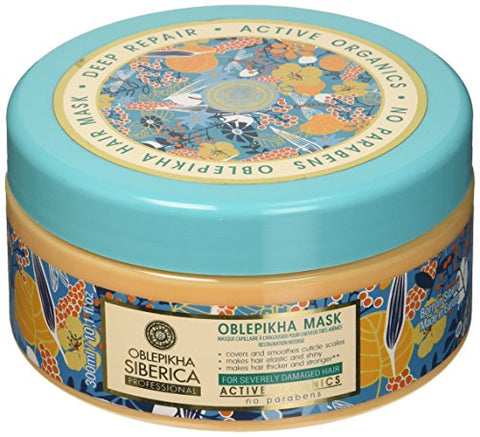 Natura Siberica Professional Oblepikha Deep Repair Hair Mask for Severely Damaged Hair, 300 ml - NaturaCurandera.com